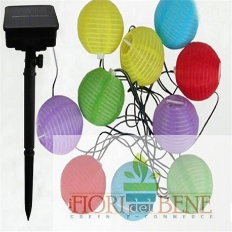 Set di 10 lanterne illuminazione led energia solare