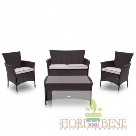 """Salotto """"Capri"""" 4 pz. da esterno in polirattan ( divano , due poltrone e tavolino)"""