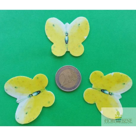 Farfalla 4.5 cm gialla in cartoncino piantabile