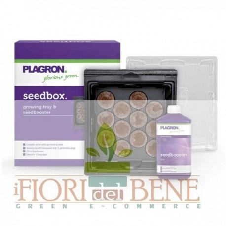 Kit di semina Plagron : miniserretta ( seedbox ) , 12 dischetti torba e acceleratore ( seedbooster 250 ml)