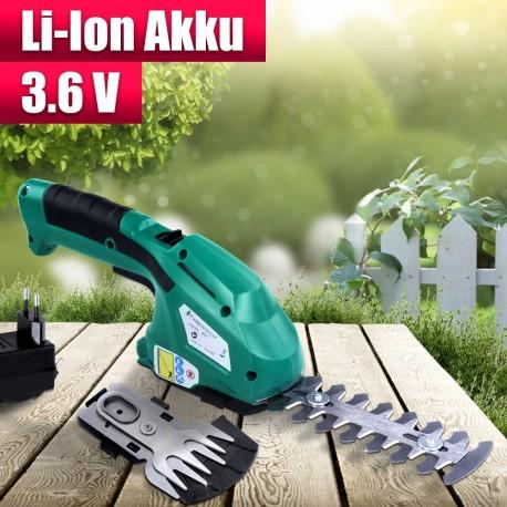 Cesoia a batteria al litio 7,2 V con due lame per taglio erba ed arbusti